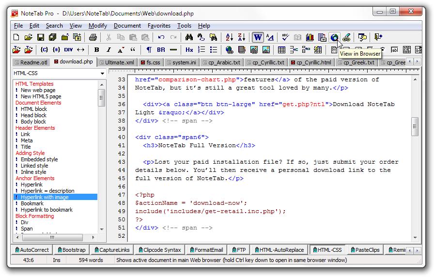 Screenshot of NoteTab's main window.