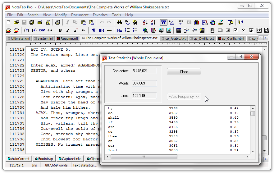 NoteTabs Word Count And Text Statistics