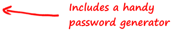 Includes a handy password generator