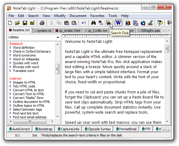 Click to view NoteTab Light 6.2 screenshot